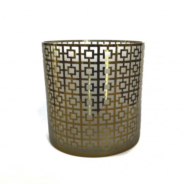 Windlicht XL Weihnachten Edel Retro Design Gold Glas Cor Mulder 24,5 x 24,5 cm